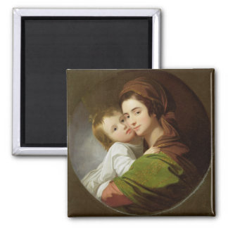 The Artist's Wife, Elizabeth, and their son Raphae Square Magnet