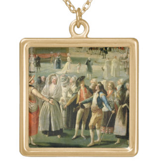 The Ascent of a Hot-Air Balloon in Madrid, detail Gold Plated Necklace