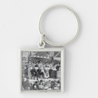 The Atlanta International Cotton Exposition Silver-Colored Square Key Ring