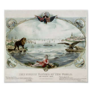 The Atlantic Cable Vintage Poster 1866 Restored