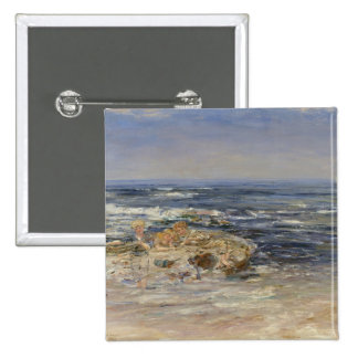 The Atlantic Surf, 1899 (oil on canvas) 15 Cm Square Badge