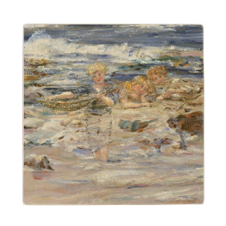 The Atlantic Surf, 1899 (oil on canvas) Wood Coaster