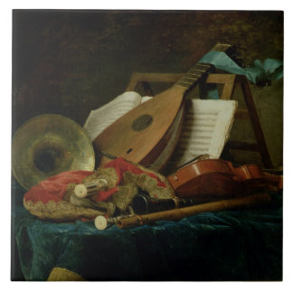 The Attributes of Music, 1770 (oil on canvas) Large Square Tile