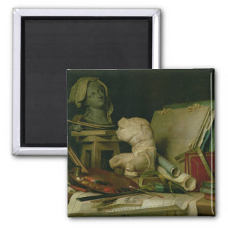 The Attributes of the Arts, 1769 (oil on canvas) Square Magnet