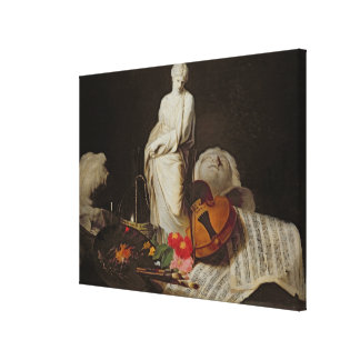 The Attributes of the Arts Stretched Canvas Print