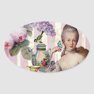Thé au Petit Trianon – rose Oval Sticker