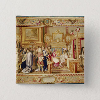 The Audience of Cardinal Chigi with Louis XIV 15 Cm Square Badge