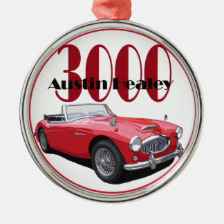 The Austin Healey 3000 Silver-Colored Round Decoration