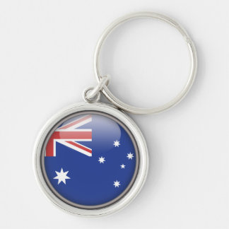 The Australian Flag Silver-Colored Round Key Ring