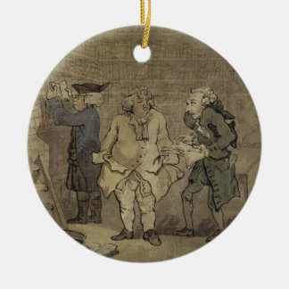 The Author and his Publisher, 1784 (grey wash and Round Ceramic Decoration