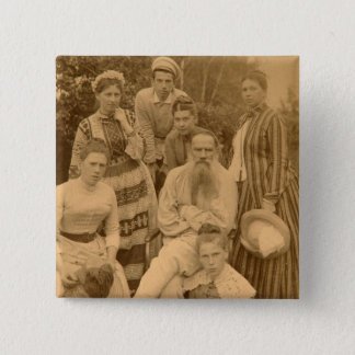 The author Leo Tolstoy with his family 15 Cm Square Badge