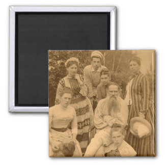 The author Leo Tolstoy with his family Square Magnet