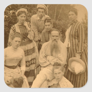 The author Leo Tolstoy with his family Square Sticker