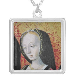 The Author Offering his Book to Anne of Brittany Silver Plated Necklace