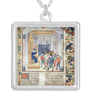 The Author Presenting his Book to the Peasants Silver Plated Necklace