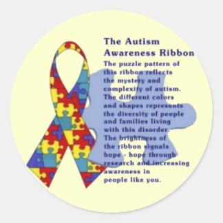 """The Autism Awareness Ribbon"" Classic Round Sticker"