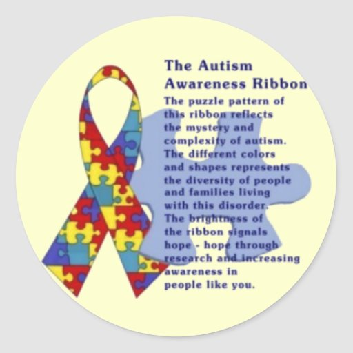 """The Autism Awareness Ribbon"" Round Sticker"