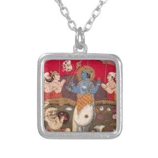 The Avatars of Vishnu Square Pendant Necklace