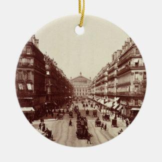 The Avenue de l'Opera, Paris  (sepia photo) Christmas Ornament