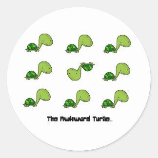 The Awkward Turtle Round Sticker
