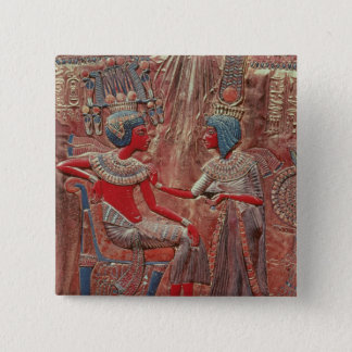 The back of the throne of Tutankhamun 15 Cm Square Badge