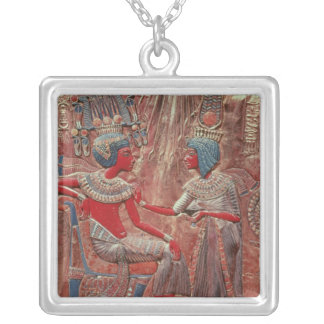 The back of the throne of Tutankhamun Silver Plated Necklace