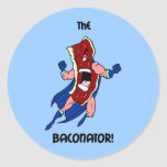 the baconator round stickers