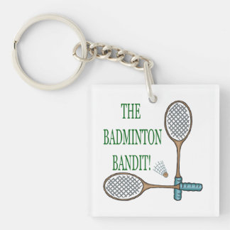 The Badminton Bandit 2 Double-Sided Square Acrylic Key Ring