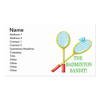 The Badminton Bandit Pack Of Standard Business Cards