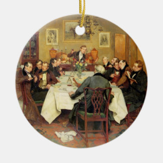The Bagman's Toast 'Sweethearts and Wives'(oil on Round Ceramic Decoration
