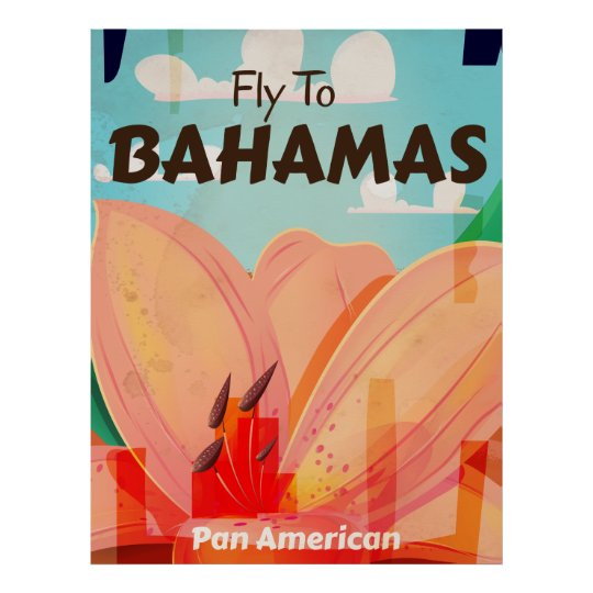 The Bahamas Classic vintage travel poster
