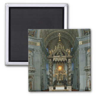 The Baldacchino, the high altar and the chair Square Magnet