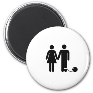 The Ball and Chained groom Refrigerator Magnets