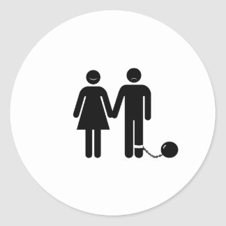 The Ball and Chained groom Round Stickers