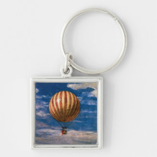 The Balloon, 1878 Silver-Colored Square Key Ring