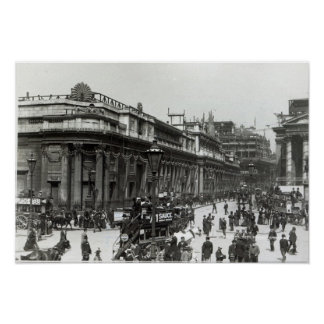 The Bank of England decorated for Queen Poster