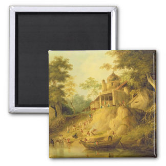 The Banks of the Ganges, c.1820-30 (oil on canvas) Square Magnet
