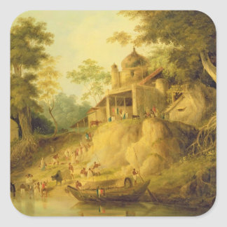 The Banks of the Ganges, c.1820-30 (oil on canvas) Square Sticker