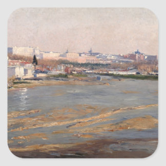 The Banks of the River Manzanares, 1912 (oil on ca Square Sticker