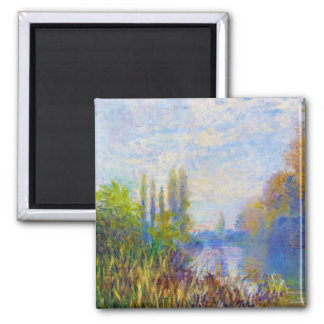The Banks of The Seine in Autumn Claude Monet Square Magnet