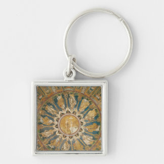 The Baptism of Christ 2 Silver-Colored Square Key Ring