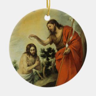 The Baptism of Christ by Bartolome Esteban Murillo Round Ceramic Decoration