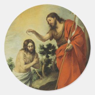 The Baptism of Christ by Bartolome Esteban Murillo Round Sticker