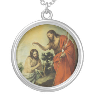 The Baptism of Christ by Bartolome Esteban Murillo Silver Plated Necklace