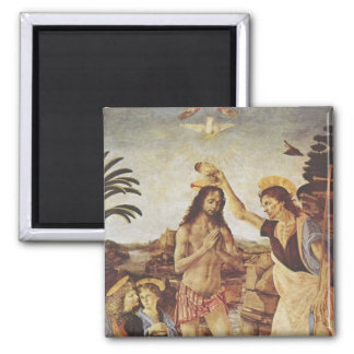 The Baptism of Christ (Verrocchio) Square Magnet