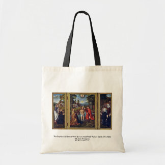 The Baptism Of Christ With Donors And Their Patron Budget Tote Bag