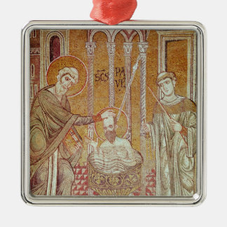 The Baptism of St. Paul By Ananias Silver-Colored Square Decoration