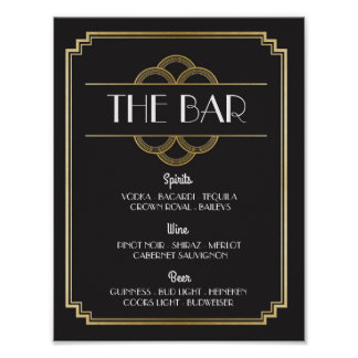 The Bar Twenties Art Deco Sign Wedding Reception