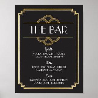 The Bar Twenties Art Deco Sign Wedding Reception