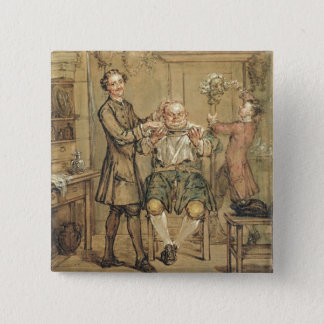 The Barber, c.1760-69 (oil on canvas) 15 Cm Square Badge